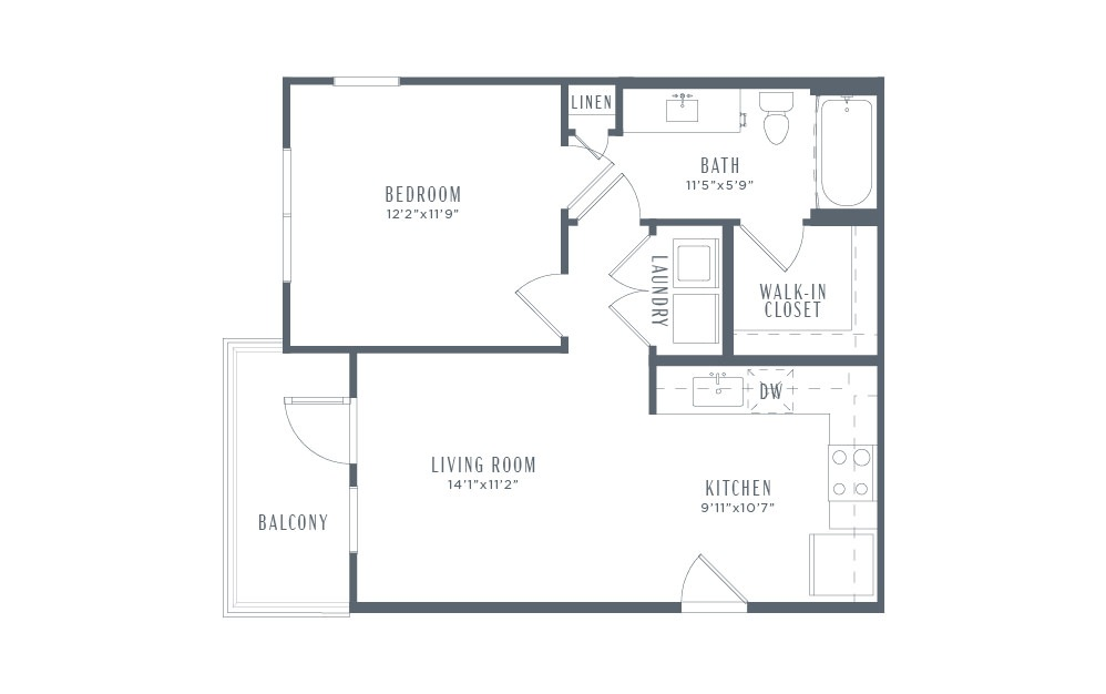 A1p - 1 bedroom floorplan layout with 1 bath and 613 square feet. (2D)
