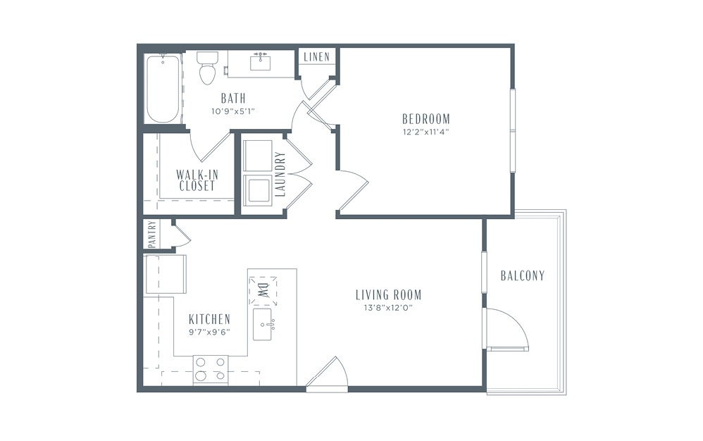 A2p - 1 bedroom floorplan layout with 1 bath and 650 square feet. (2D)