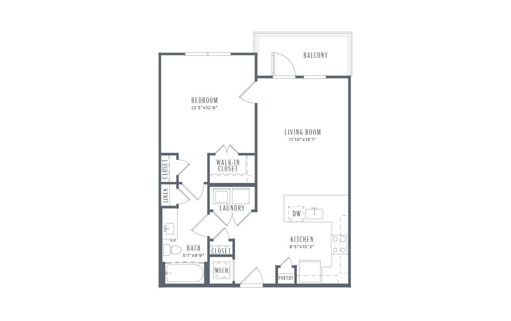 A3p - 1 bedroom floorplan layout with 1 bath and 726 square feet. (2D)