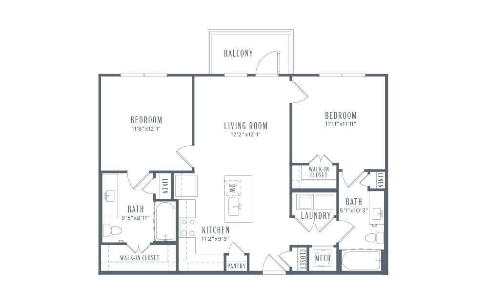 B1 - 2 bedroom floorplan layout with 2 baths and 950 square feet. (2D)