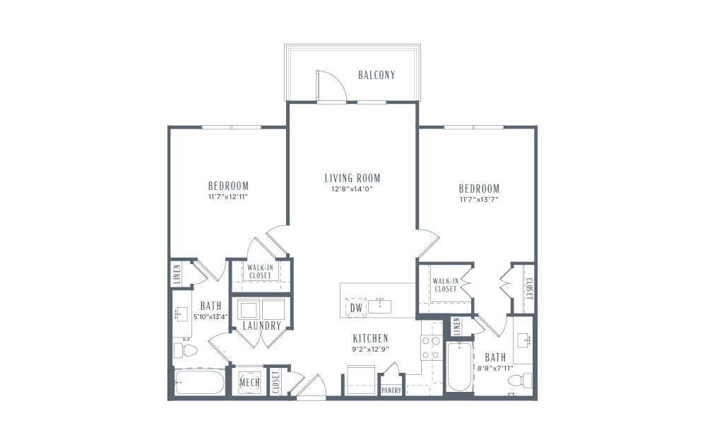 B2 - 2 bedroom floorplan layout with 2 baths and 1051 square feet. (2D)
