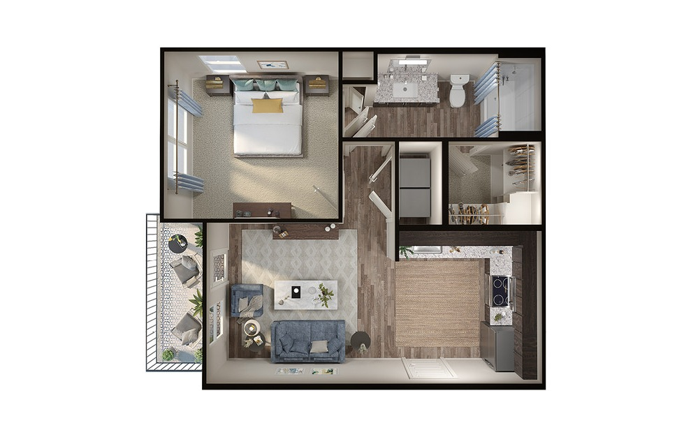 A1p - 1 bedroom floorplan layout with 1 bath and 613 square feet. (3D)