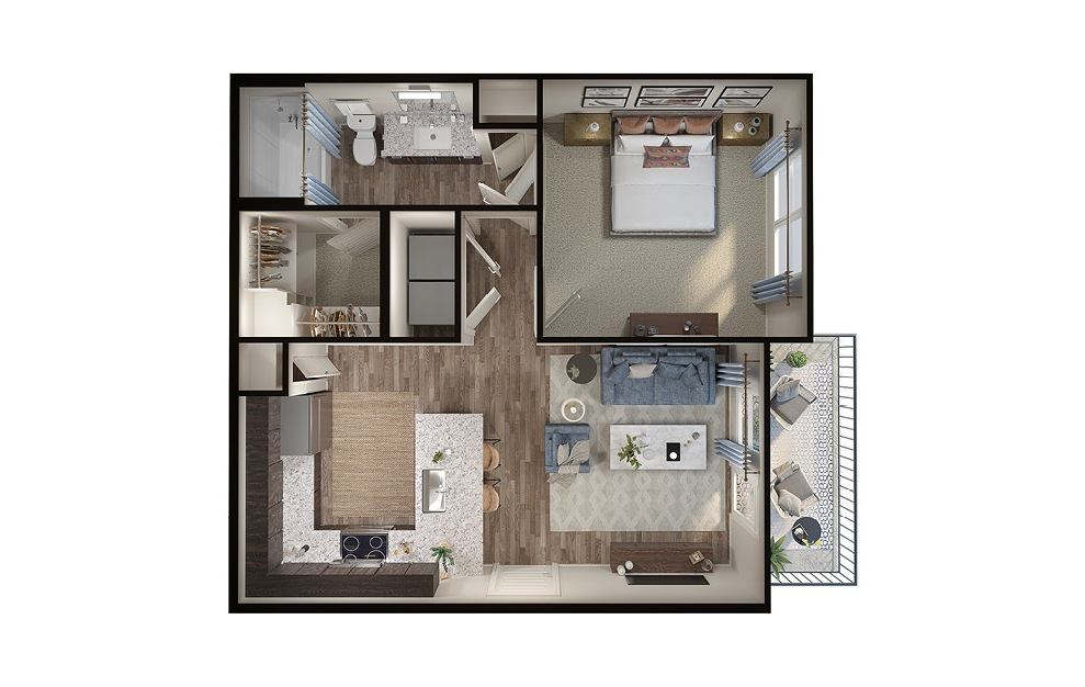 A2p - 1 bedroom floorplan layout with 1 bath and 650 square feet. (3D)