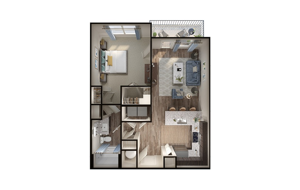 A3p - 1 bedroom floorplan layout with 1 bath and 726 square feet. (3D)