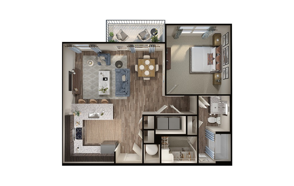 A4p - 1 bedroom floorplan layout with 1 bath and 787 square feet. (3D)
