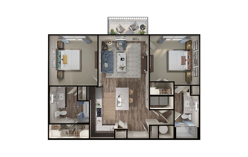 B1 - 2 bedroom floorplan layout with 2 baths and 950 square feet. (3D)