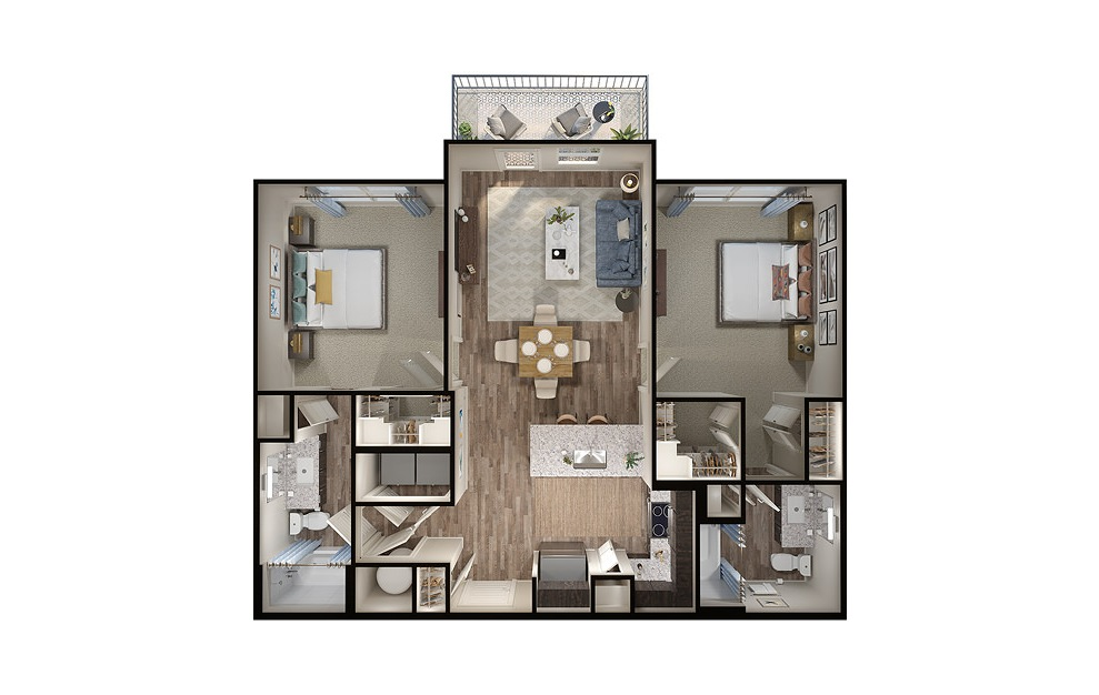 B2 - 2 bedroom floorplan layout with 2 baths and 1051 square feet. (3D)