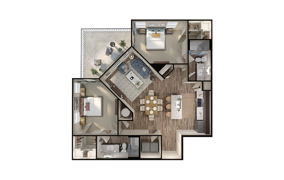B4 - 2 bedroom floorplan layout with 2 baths and 1117 square feet. (3D)