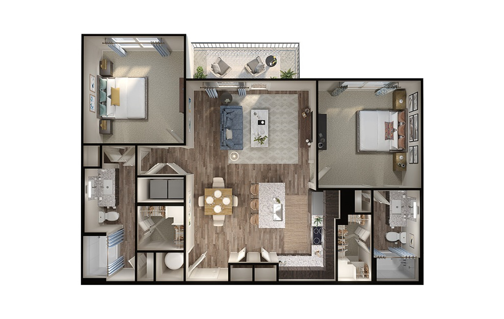 B3 - 2 bedroom floorplan layout with 2 baths and 1131 square feet. (3D)