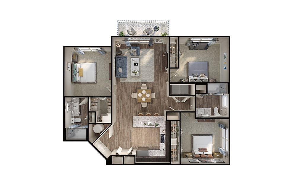C1 - 3 bedroom floorplan layout with 2 baths and 1320 square feet. (3D)